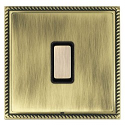 Hamilton Linea-Georgian CFX Antique Brass/Antique Brass 1 Gang Multi way Touch Slave Trailing Edge with Black Insert