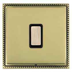 Hamilton Linea-Georgian CFX Antique Brass/Polished Brass 1 Gang Multi way Touch Slave Trailing Edge with Black Insert