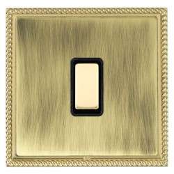 Hamilton Linea-Georgian CFX Polished Brass/Antique Brass 1 Gang Multi way Touch Slave Trailing Edge with Black Insert