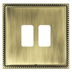 Hamilton Linea-Georgian CFX Antique Brass/Antique Brass 2 Gang Grid Fix Aperture Plate with Grid