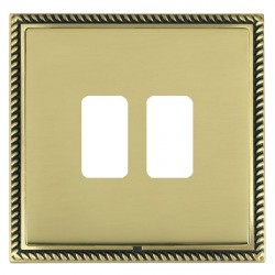Hamilton Linea-Georgian CFX Antique Brass/Polished Brass 2 Gang Grid Fix Aperture Plate with Grid