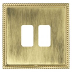 Hamilton Linea-Georgian CFX Polished Brass/Antique Brass 2 Gang Grid Fix Aperture Plate with Grid