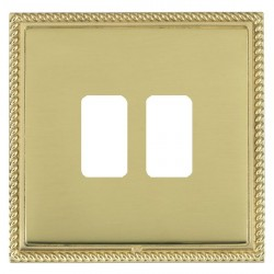 Hamilton Linea-Georgian CFX Polished Brass/Polished Brass 2 Gang Grid Fix Aperture Plate with Grid
