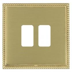 Hamilton Linea-Georgian CFX Polished Brass/Satin Brass 2 Gang Grid Fix Aperture Plate with Grid