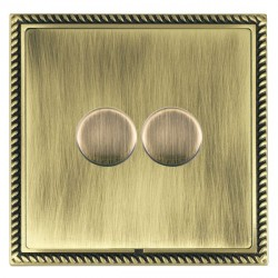 Hamilton Linea-Georgian CFX Antique Brass/Antique Brass Push On/Off Dimmer 2 Gang 2 way with Antique Brass Insert