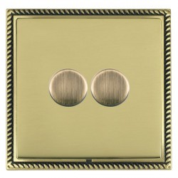 Hamilton Linea-Georgian CFX Antique Brass/Polished Brass Push On/Off Dimmer 2 Gang 2 way with Antique Bra...