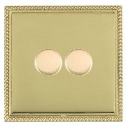 Hamilton Linea-Georgian CFX Polished Brass/Polished Brass Push On/Off Dimmer 2 Gang 2 way with Polished Brass Insert