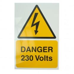 Self Adhesive Rigid PVC Danger 230 Volts Stickers