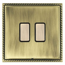 Hamilton Linea-Georgian CFX Antique Brass/Antique Brass 2 Gang Multi way Touch Master Trailing Edge with Black Insert