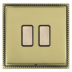 Hamilton Linea-Georgian CFX Antique Brass/Polished Brass 2 Gang Multi way Touch Master Trailing Edge with Black Insert