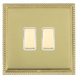 Hamilton Linea-Georgian CFX Polished Brass/Polished Brass 2 Gang Multi way Touch Master Trailing Edge wit...