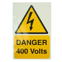 Self Adhesive Rigid PVC Danger 400 Volts Stickers