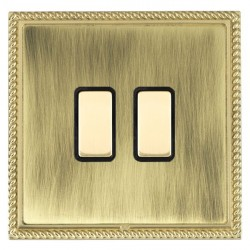 Hamilton Linea-Georgian CFX Polished Brass/Antique Brass 2 Gang Multi way Touch Slave Trailing Edge with Black Insert