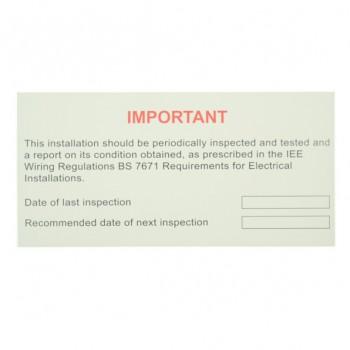 10 Self Adhesive Vinyl Periodic Inspection Labels