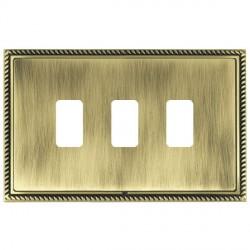 Hamilton Linea-Georgian CFX Antique Brass/Antique Brass 3 Gang Grid Fix Aperture Plate with Grid