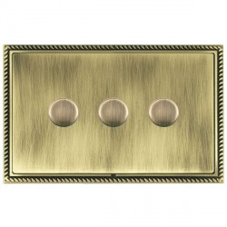 Hamilton Linea-Georgian CFX Antique Brass/Antique Brass Push On/Off Dimmer 3 Gang 2 way with Antique Brass Insert