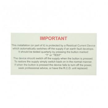 10 Self Adhesive Vinyl RCD Test Stickers