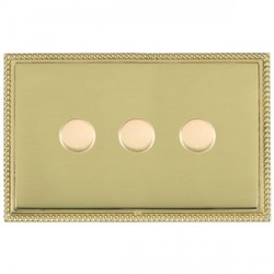 Hamilton Linea-Georgian CFX Polished Brass/Polished Brass Push On/Off Dimmer 3 Gang 2 way with Polished Brass Insert