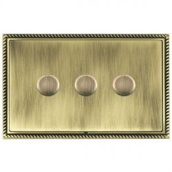 Hamilton Linea-Georgian CFX Antique Brass/Antique Brass Push On/Off Dimmer 3 Gang Multi-way Trailing Edge with Antique Brass Insert