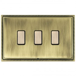 Hamilton Linea-Georgian CFX Antique Brass/Antique Brass 3 Gang Multi way Touch Slave Trailing Edge with Black Insert