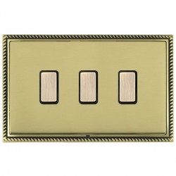 Hamilton Linea-Georgian CFX Antique Brass/Polished Brass 3 Gang Multi way Touch Slave Trailing Edge with Black Insert