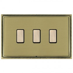 Hamilton Linea-Georgian CFX Antique Brass/Satin Brass 3 Gang Multi way Touch Slave Trailing Edge with Black Insert