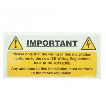 10 Self Adhesive Vinyl Harmonised Cable Notice Stickers