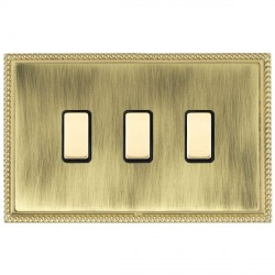 Hamilton Linea-Georgian CFX Polished Brass/Antique Brass 3 Gang Multi way Touch Slave Trailing Edge with Black Insert