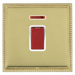 Hamilton Linea-Georgian CFX Polished Brass/Polished Brass 1 Gang 45A Double Pole Red Rocker + neon with White Insert