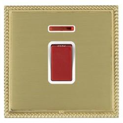 Hamilton Linea-Georgian CFX Polished Brass/Satin Brass 1 Gang 45A Double Pole Red Rocker + neon with White Insert