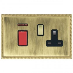 Hamilton Linea-Georgian CFX Polished Brass/Antique Brass 1 Gang Double Pole 45A Red Rocker + 13A Switched...