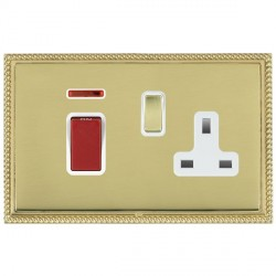Hamilton Linea-Georgian CFX Polished Brass/Polished Brass 1 Gang Double Pole 45A Red Rocker + 13A Switched Socket with White Insert