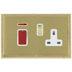 Hamilton Linea-Georgian CFX Polished Brass/Satin Brass 1 Gang Double Pole 45A Red Rocker + 13A Switched Socket with White Insert