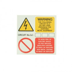 10 Self Adhesive Vinyl Earthing Provision Stickers