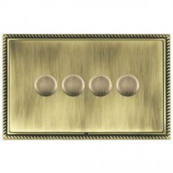 Hamilton Linea-Georgian CFX Antique Brass/Antique Brass Push On/Off Dimmer 4 Gang 2 way with Antique Brass Insert
