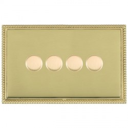 Hamilton Linea-Georgian CFX Polished Brass/Polished Brass Push On/Off Dimmer 4 Gang 2 way with Polished Brass Insert