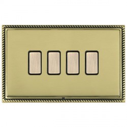 Hamilton Linea-Georgian CFX Antique Brass/Polished Brass 4 Gang Multi way Touch Master Trailing Edge with Black Insert
