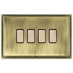 Hamilton Linea-Georgian CFX Antique Brass/Antique Brass 4 Gang Multi way Touch Slave Trailing Edge with Black Insert