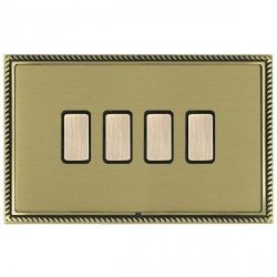 Hamilton Linea-Georgian CFX Antique Brass/Satin Brass 4 Gang Multi way Touch Slave Trailing Edge with Black Insert