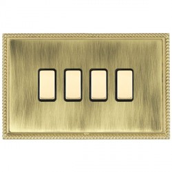 Hamilton Linea-Georgian CFX Polished Brass/Antique Brass 4 Gang Multi way Touch Slave Trailing Edge with Black Insert
