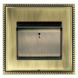 Hamilton Linea-Georgian CFX Antique Brass/Antique Brass 1 Gang On/Off 10A Card Switch with Blue LED Locat...