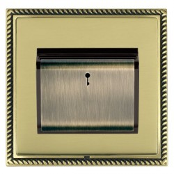 Hamilton Linea-Georgian CFX Antique Brass/Polished Brass 1 Gang On/Off 10A Card Switch with Blue LED Locator with Black Insert