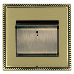 Hamilton Linea-Georgian CFX Antique Brass/Satin Brass 1 Gang On/Off 10A Card Switch with Blue LED Locator with Black Insert