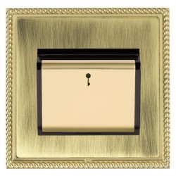 Hamilton Linea-Georgian CFX Polished Brass/Antique Brass 1 Gang On/Off 10A Card Switch with Blue LED Locator with Black Insert