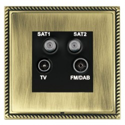 Hamilton Linea-Georgian CFX Antique Brass/Antique Brass TV+FM+SAT+SAT (DAB Compatible) with Black Insert