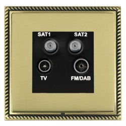 Hamilton Linea-Georgian CFX Antique Brass/Polished Brass TV+FM+SAT+SAT (DAB Compatible) with Black Insert