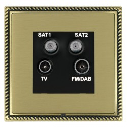 Hamilton Linea-Georgian CFX Antique Brass/Satin Brass TV+FM+SAT+SAT (DAB Compatible) with Black Insert