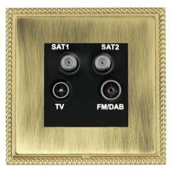 Hamilton Linea-Georgian CFX Polished Brass/Antique Brass TV+FM+SAT+SAT (DAB Compatible) with Black Insert