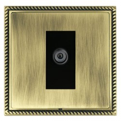 Hamilton Linea-Georgian CFX Antique Brass/Antique Brass 1 Gang Digital Satellite with Black Insert