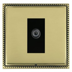 Hamilton Linea-Georgian CFX Antique Brass/Polished Brass 1 Gang Digital Satellite with Black Insert
